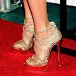 çapraz bantlı gold simli gece ayakkabısı