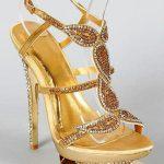 altın ve gümüş renklitaşlarla süslenmiş dore gece ayakkabısı