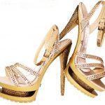 altın ve gümüş taşlı abiye platformlu ayakkabı