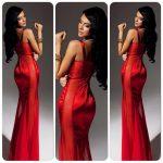askılı kırmızı uzun bayan abiye elbise