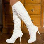 beyaz büzgülü topuklu çizme