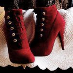 bordo topuklu süet çizme