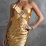 bronz renk fiyonklu abiye modeli