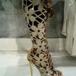 dore taşlı çiçek görünümlü çizme şeklinde abiye ayakkabu