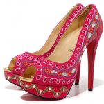 elegan kırmızı platform topuklu ayakkabı modelleri