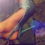 gümüş simli parlak platform topuklu ayakkabı