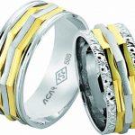 geometrik çizgili nişan yüzüğü modeli