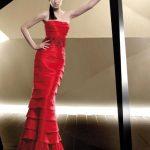 kırmızı katlı abiye modeli Yeni Model