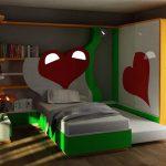 kitaplık detaylı kalpli genç odası