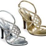 lame ve dore renkli taşlı abiye bayan ayakkabısı