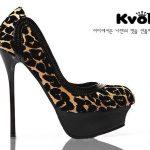 leopar desenli ince topuk ayakkabı modeli