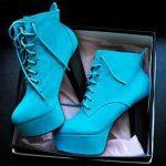 mavi süet platform topuklu bot