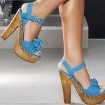 mavi tahta topuklu platformlu ayakkabı