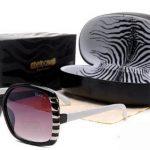 metal detaylı siyah beyaz bayan güneş gözlüğü