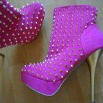 mor zımbalı bot ayakkabı modeli