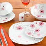 pembe çiçekli karaca yemek takımı Yeni