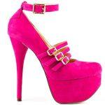 pembe platformlu süet üsten bantları olan ayakkabı
