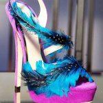 pembe süet kuş tüyü detaylı abiye ayakkabı modeli