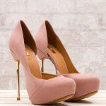 pudra renkli gold çelik topuklu platformlu ayakkabı