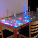 renkli led dekorku mutfak masası