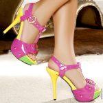 renkli rugan platform topuklu ayakkabılar
