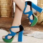 süet kare topuklu platformlu renkli ayakkabı