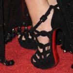 süet siyah bilekten bağlamalı kafesli ayakkabı modeli