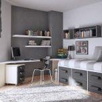 sade gri genç odası