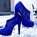 saks mavisi delikli bor ayakkabı modeli