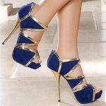 saks mavisi lame detaylı platformlu ayakkabı