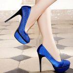 saks mavisi simli siyah topuklu platformlu ayakkabı