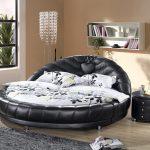 siyah deri yuvarlak yatak modeli