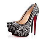 siyah süet gümüş işlemeli platformlu ayakkabı