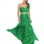 taşlı gül detaylı yeşil gece elbisesi