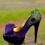 tavus kuşu tüylü kumaş ayakkabı modeli