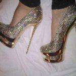 yüksek topuklu ayakkabı elmas görünümlü kadın ayakkabı
