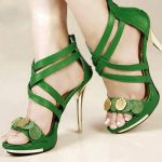 yeşil önü pullu çapraz bantlı deri ayakkabı