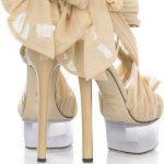 bej fiyonk detaylı gelinlik ayakkabı modeli