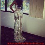 beyaz dore gece elbisesi modeli
