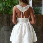 beyaz sırt dekolteli mini gece elbisesi modeli