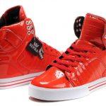 bilekli kırmızı deri spor ayakkabı modeli