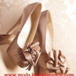 bronz gül detaylı ayakkabı modeli
