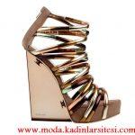 dolgu topuk bronz ayakkabı modeli