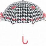 ekoseli pembe fiyonklu şemsiye modeli