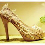 ekru delikli gelinlik ayakkabı modeli