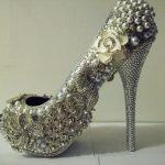 güllü taşlı gelinlik ayakkabı modeli