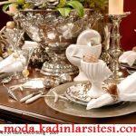 gümüş deniz kabuklu tabak dekorasyon modeli