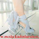 gri şifon ayakkabı modeli