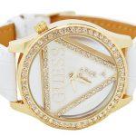 guues deri beyaz kayışlı sarı taş çerceveli saat modeli