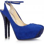 jimmy choo mavi nubuk ayakkabı modeli